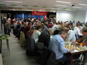 Blick in den großen Turniersaal, Insgesamt wird in vier Räumen gespielt