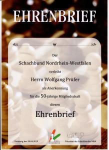 Der Ehrenbrief des Schachbundes NRW - wir hoffen natürlich, diesen bald persönlich übergeben zu können...